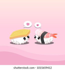 Sushi in love no.1. Egg roll sushi and prawn sushi.