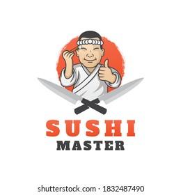Sushi Master Logo Template Design Vector