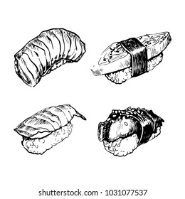Sushi nigiri skech hand drawing set.