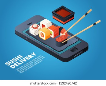 Sushi order. Online or telephone order various asian food. Vector service on smartphone, restaurant menu online, sushi and seafood illustration