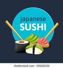 Sushi poster design. Original sushi banner on a dark background