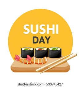 Sushi poster design. Original sushi banner on a white background. Japanese food