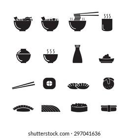 Sushi, Ramen, Japanese food vector, icon set