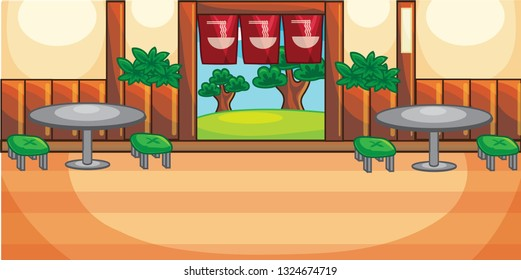 Sushi and Ramen Restaurant Classic Style Village Vibe for Cartoon Vector Architecture Background Illustration Ideas