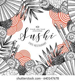 Sushi restaurant fun design template. Asian food background. Vector illustration