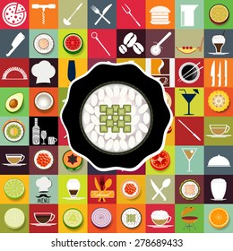 Sushi and restaurant icons