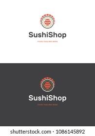 Sushi restaurant logo template vector illustration. Japanese food, roll silhouette.