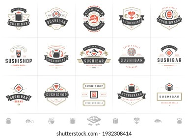 Sushi restaurant logos and badges set japanese food with sushi salmon rolls silhouettes vector illustration. Modern retro typography emblems and signs design.