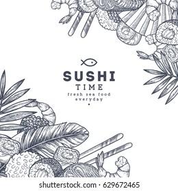 Sushi restaurant menu design template. Asian food frame. Vector illustration