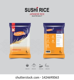 Sushi Rice of Japanese Packaging Food Product and Background.