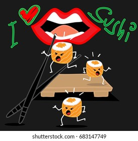 Sushi roll cartoon running away from chopstick and mouth. funny vector illustrator