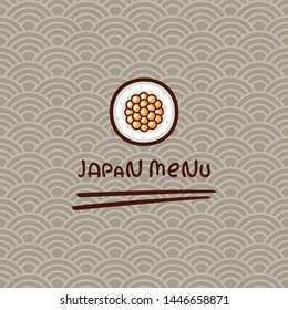 Sushi Roll with caviar vector illustration. Template for sushi bar logo. Japanese food on traditional ornament. Menu design.