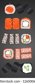 Sushi roll collection  - low polygonal cartoon style minimal slice of salmon, crab in nori seaweed, filadelfia cheese maki, ikura, cucumber - for design menu restaurant delivery, flyer, web background