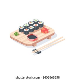 Sushi roll food. Vector 3d isometric color icon new flat style. Creative illustration, idea for infographics.