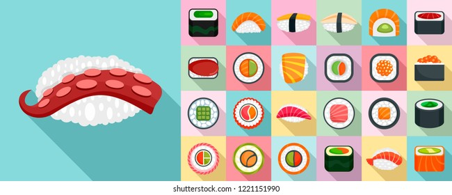 Sushi roll icon set. Flat set of sushi roll vector icons for web design