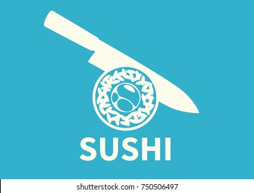 Sushi roll and knife on blue background. Logo for sushi bar. Vector