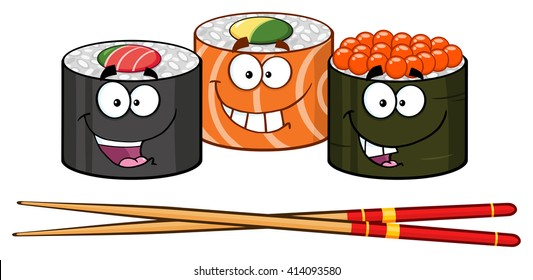 Sushi Roll Set Cartoon Characters With Chopsticks. Vector Illustration Isolated On White