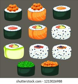 sushi, sushi roll set for decoration