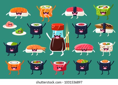 Sushi and rolls characters sett, Japaneset food with funny faces vector Illustrations