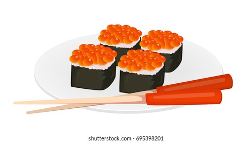 Sushi rolls and chopsticks. Asian food. Vector illustration isolated on white background