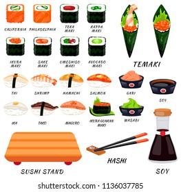 Sushi rolls food japanese. Asian sushi. Sushi bar,restaurant,accessories. Modern flat cartoon vector illustration on white. California,filadelfia,maki,nigiri,temaki,uramaki. sushi and roll. Stick,soy