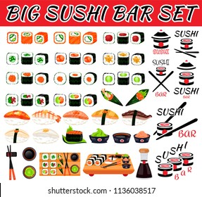 Sushi rolls food japanese. Asian sushi. Sushi bar,restaurant,accessories. Cafe logo. Modern flat cartoon vector illustration on white. California,filadelfia,maki,nigiri,temaki,uramaki. sushi and roll