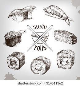 Sushi and rolls, hand drawing  Fresh fish and rice. soy sauce with sticks.
