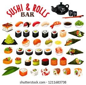 Sushi and rolls of japanese seafood with sauce and chopsticks. Vector roll, uramaki and inari, nigiri and gunkan, temaki sushi with salmon fish, rice and shrimp, seaweed nori, tuna, caviar and avocado