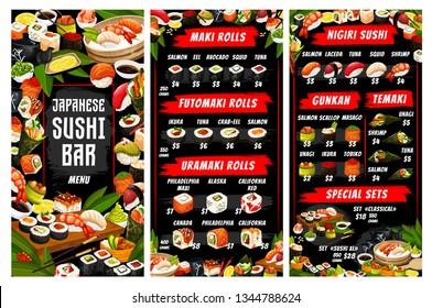 Sushi and rolls menu, Japanese cuisine. Vector maki and nigiri, futomaki and uramaki, gunkan and temaki, ikura and philadelphia, unagi. Salmon and eel, avocado and squid, soy sauce and chopsticks