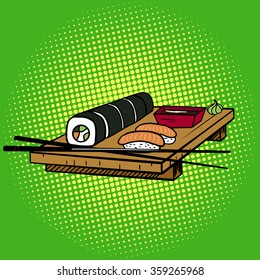 Sushi rolls pop art style vector illustration. Japanese food. Comic book imitation