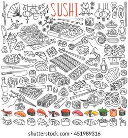 Sushi and rolls set. Japanese traditional cuisine dishes - nigiri, temaki, tamago, sashimi, uramaki, futomaki. Freehand vector drawing isolated on white background for asian restaurant menu.