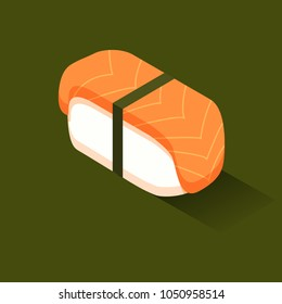 Sushi with salmon color isometric style icon, fastfood concept illustration, vector eps10