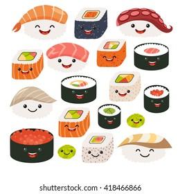 Sushi and sashimi set. Vector illustration isolated on white background, flat