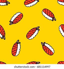sushi seamless doodle pattern
