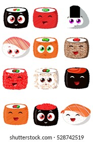 Sushi set for advertising restaurants, sushi bars and cafes in the cartoon, funny style