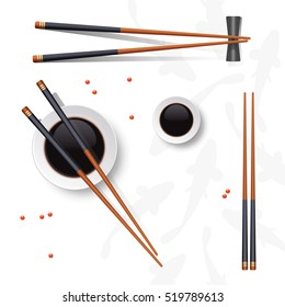 Sushi set. Chopsticks and soy sauce isolated on white. Vector illustration.