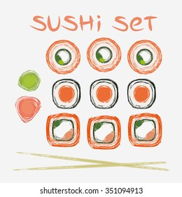 Sushi set drawn in Illustrator