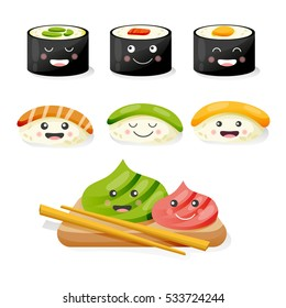 Sushi set with funny cute characters on a white background. Sushi menu