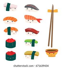 Sushi set. Funny emoji.
