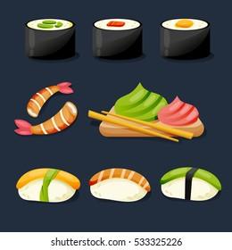 Sushi set. Sushi set on a dark background. Sushi menu