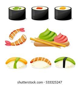 Sushi set on a white background. Sushi menu