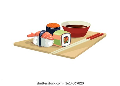 Sushi set and sushi roll on wooden board.   Isolated on white background. Vector illustration.