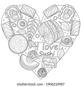 Sushi set in the shape of a heart.Food.Coloring book antistress adults. Illustration isolated on white background.Black and white drawing