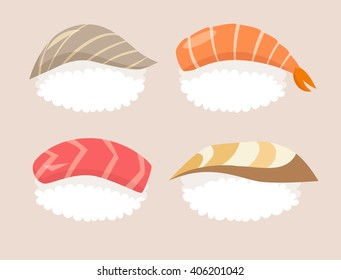 Sushi set vector. Sushi with salmon, red fish and sushi with acne fish, tuna and shrimp. Sushi cartoon style icon. Isolated on white background