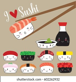 Sushi and soy sauce. Vector illustration Japanese food.