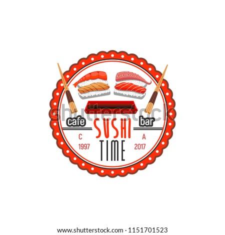 Sushi Time Cafe Bar Vector Icon Stock Vector Royalty Free