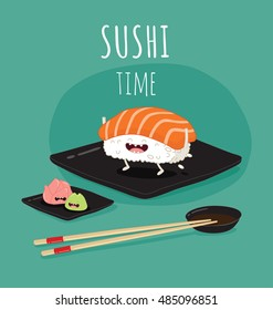 Sushi time poster.  Funny sushi on a black plate. Vector illustration.