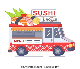 Sushi van with giant nigiri on roof - isolated illustration. Street food truck of rolls and other japanese food. Asian Outdoor cafe on wheels. Mobile sushi bar in car. Bright red and white palette