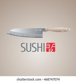 Sushi vector logo, icon, emblem. Design element, illustration with sharp steel fish knife for sushi bar, Japanese or seafood restaurant menu