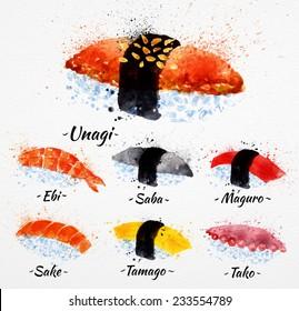 Sushi watercolor set hand drawn with stains and smudges unagi, sabe, maguro, sake, tamago, tako